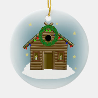 Home For The Holidays Log Cabin Christmas Round Ceramic Decoration