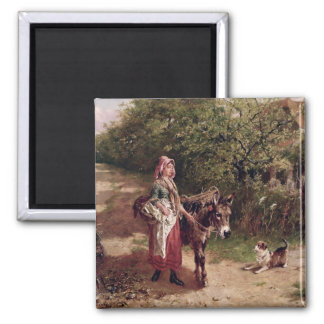 Home from Market (oil on canvas) Square Magnet