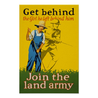 Home Front Join the Land Army WWI Propaganda Poster