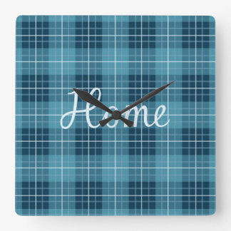 Home in Light Blue on Plaid Pattern Blues Wallclock