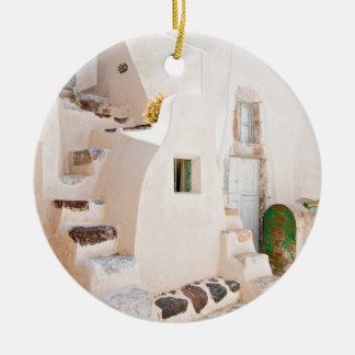 Home in Santorini Ceramic Ornament