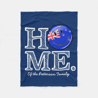 Home is New Zealand Smiling Flag Housewarming Fleece Blanket