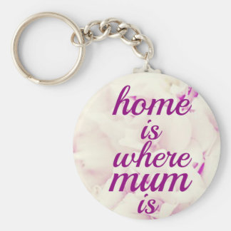 """""""Home is where Mum is"""" Basic Round Button Key Ring"""
