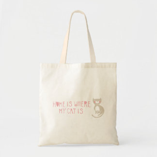 """""""Home is where my cat is"""" Budget Tote Bag"""