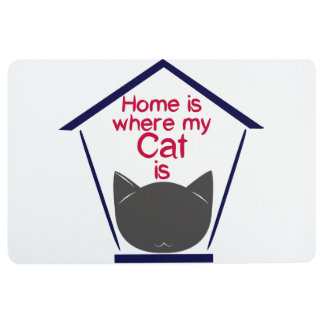 """""""Home is where my cat is"""" Floor Mat"""