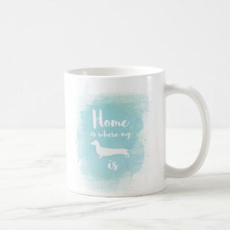Home is where my dachshund is calligraphy coffee mug