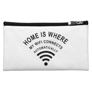 Home is where my wifi connects automatically makeup bag
