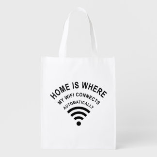 Home is where my wifi connects automatically reusable grocery bag