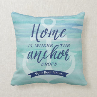 Home is Where the Anchor Drops - (Aqua green/Navy) Cushion