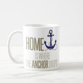 """Home Is Where the Anchor Drops"" Nautical Coffee Mug"