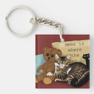 Home is Where the Cat is... Single-Sided Square Acrylic Key Ring