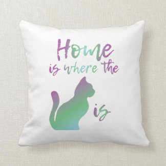 Home is where the cat is white pillow