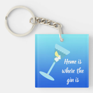Home is where the gin is.  Personalised name Key Ring