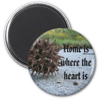 Home is where the heart is 6 cm round magnet
