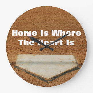 Home Is Where The Heart Is Baseball Home Plate Large Clock