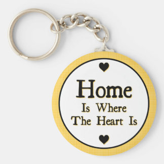 Home is Where the Heart is Basic Round Button Key Ring