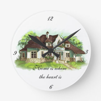 Home is where the heart is round wall clocks