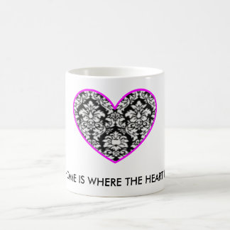 HOME IS WHERE THE HEART IS damask mug