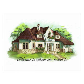 Home is where the heart is postcard