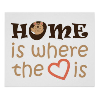 Home is where the heart is quote design poster