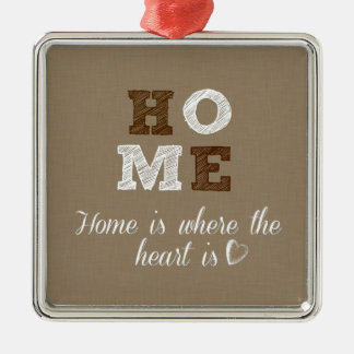 Home is where the Heart is Quote Silver-Colored Square Decoration