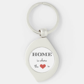 Home Is Where The Heart Is Silver-Colored Swirl Key Ring
