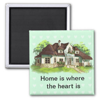 Home is where the heart is square magnet