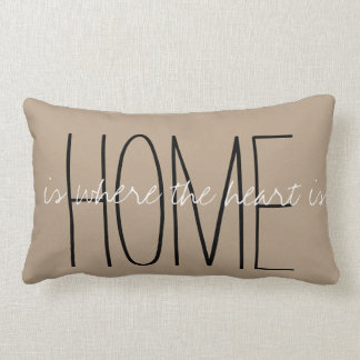 Home Is Where The Heart Is Taupe Throw Pillow