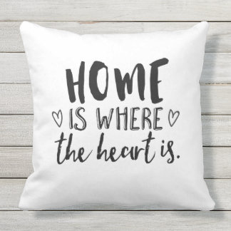 Home Is Where the Heart Is Typography Outdoor Cushion