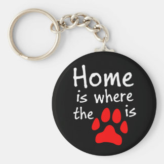 Home is where the paw print is Black Keychain