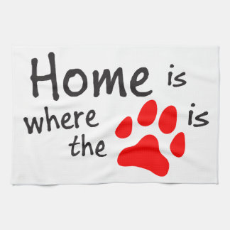 Home is where the paw print is tea towel
