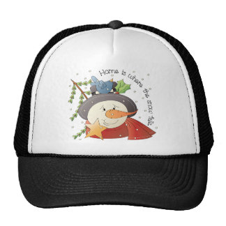 Home Is Where The Snow Falls Snowman Holiday Cap