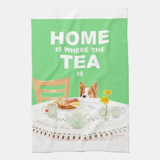 Home is where the Tea is - Dog green tea towel