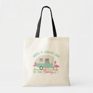 Home Is Where You Put Your Flamingos Bag