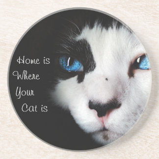 Home Is Where Your Cat Is -Black and White Coaster