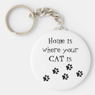 Home is where your CAT is Key Ring Basic Round Button Key Ring