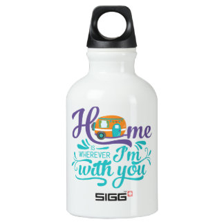 Home is Wherever I'm with you - Cute Retro Camper Water Bottle