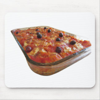 Home made baked pasta on white background mouse pad