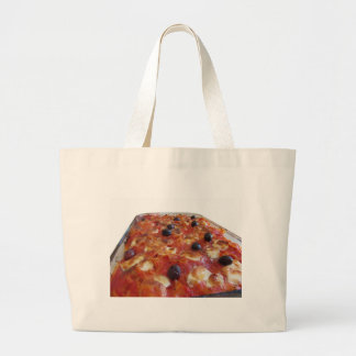 Home made baked pasta on white background jumbo tote bag