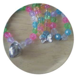home made beaded braclets plate