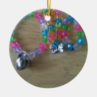 home made beaded braclets round ceramic decoration