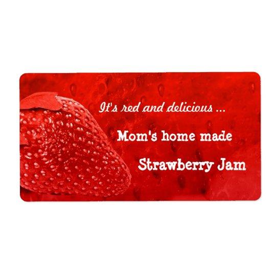 Home Made Strawberry Jam Label