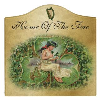 """Home Of The Fae"" Fairy, Harps & Shamrocks 2 Door Sign"