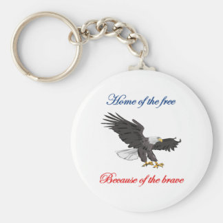 Home of the Free Because of the Brave Basic Round Button Key Ring