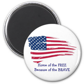 Home of the Free Wavy Flag 6 Cm Round Magnet