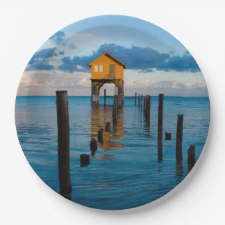 Home on the Ocean in Ambergris Caye Belize 9 Inch Paper Plate