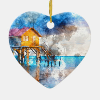 Home on the Ocean in Ambergris Caye Belize_ Ceramic Ornament
