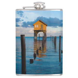 Home on the Ocean in Ambergris Caye Belize Hip Flask