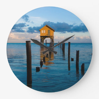 Home on the Ocean in Ambergris Caye Belize Large Clock