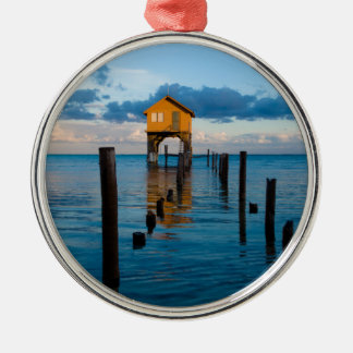 Home on the Ocean in Ambergris Caye Belize Metal Ornament